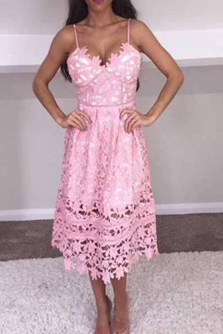Pink Lace Spaghetti Strap Midi Pattern Fashion Dress