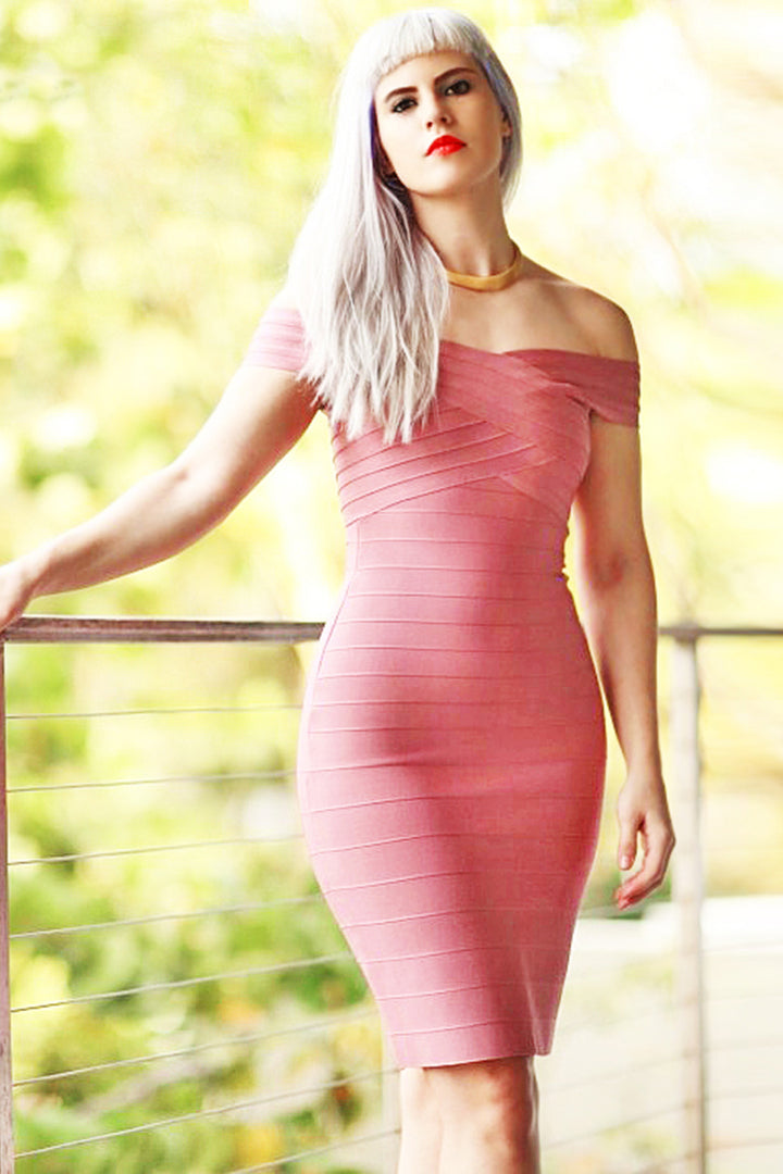 Pink Off-Neck Celebrity Bandage Dresses - iulover