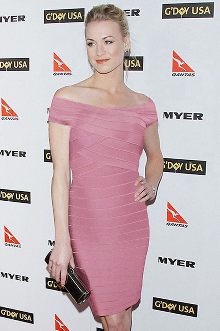 Pink Off-Neck Celebrity Bandage Dresses