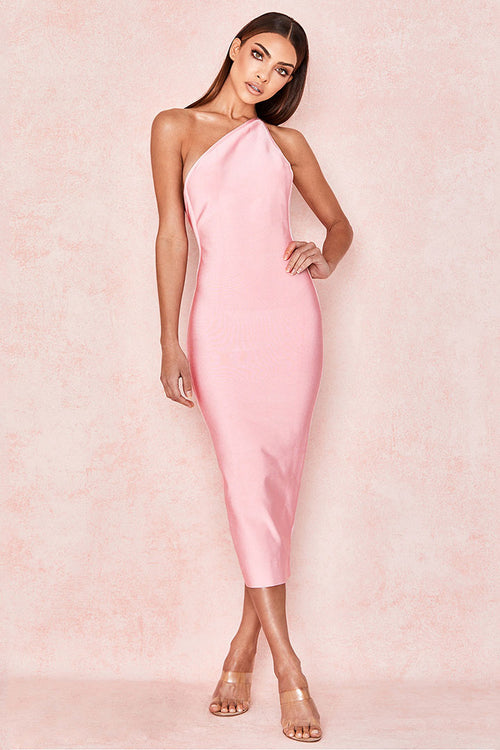 Pink One Shoulder Midi Bandage Dress - iulover