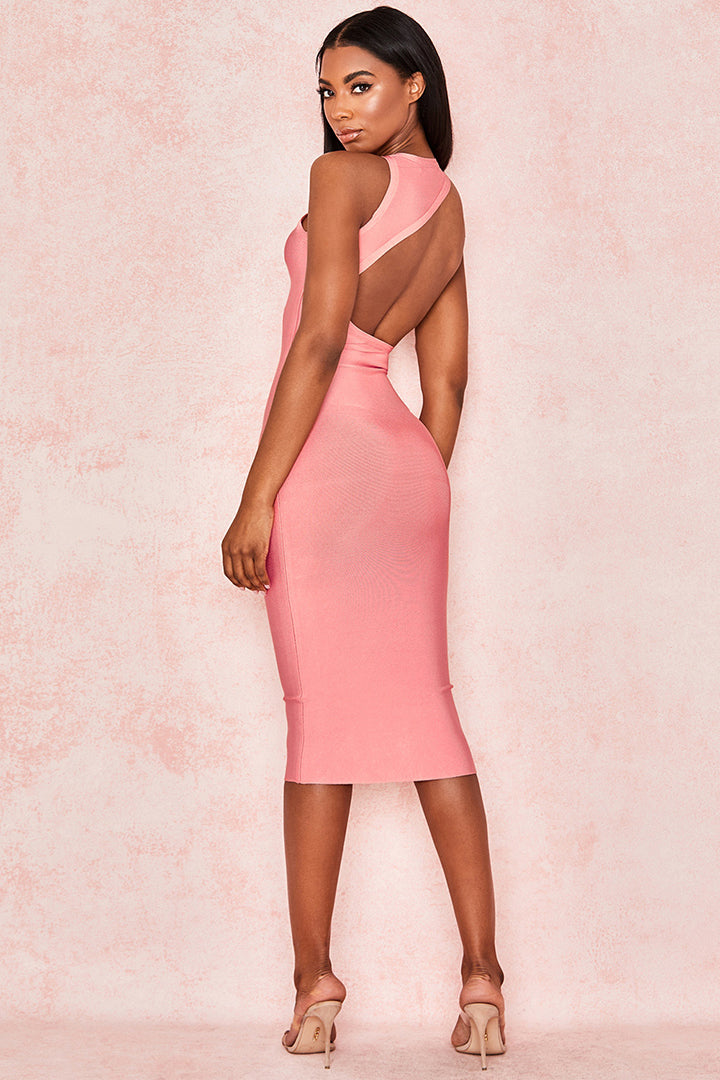 Stand Neck Backless Hollow Out Bandage Dress