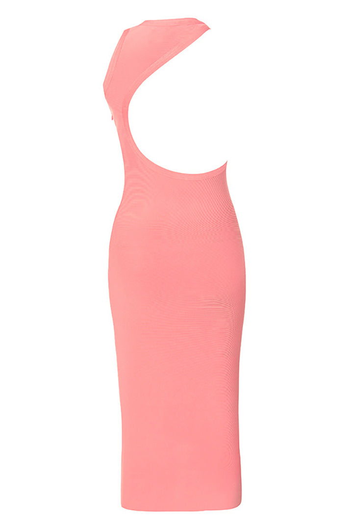 Stand Neck Backless Hollow Out Bandage Dress - iulover
