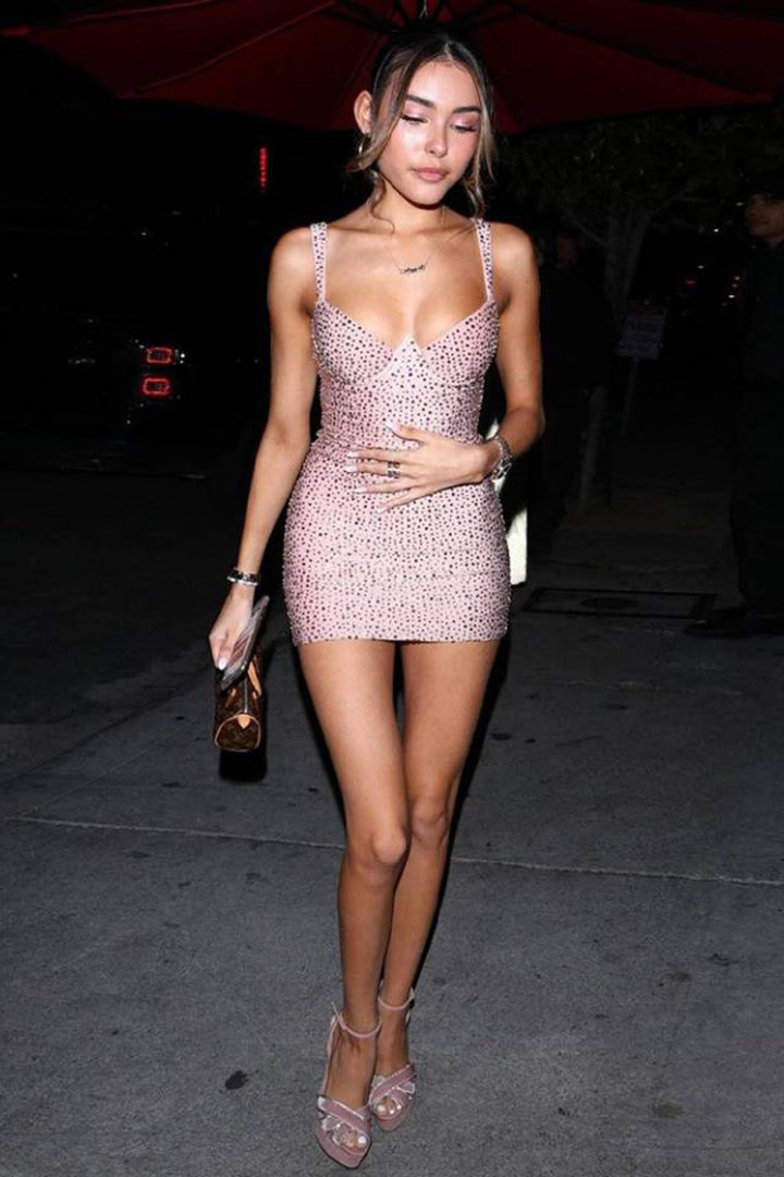 Sexy Glitter Crystal Strappy Bodycon Dress - iulover
