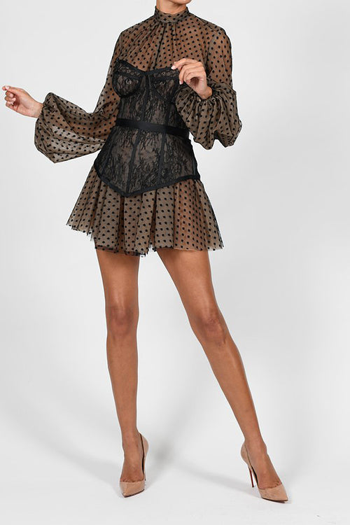 Polka Dot Mesh Two-Piece Suit Waist Puff Sleeve Dress