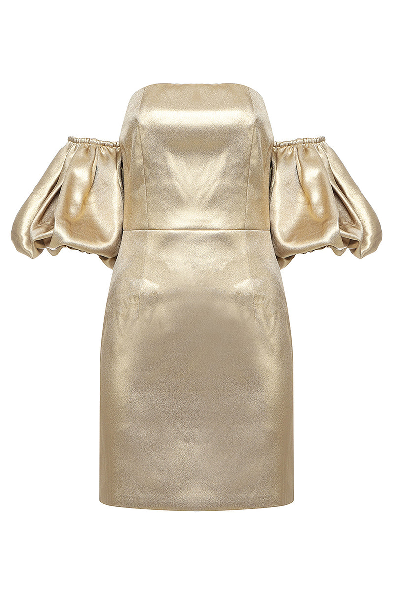 Satin Gold Shoulder-Clip Removable Flapped Sleeve Mini Dress