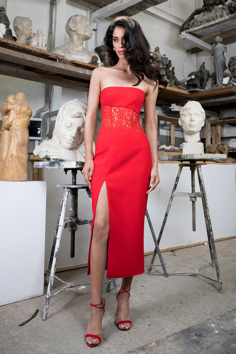 Strapless Split Red Lace Bandage Dress - iulover
