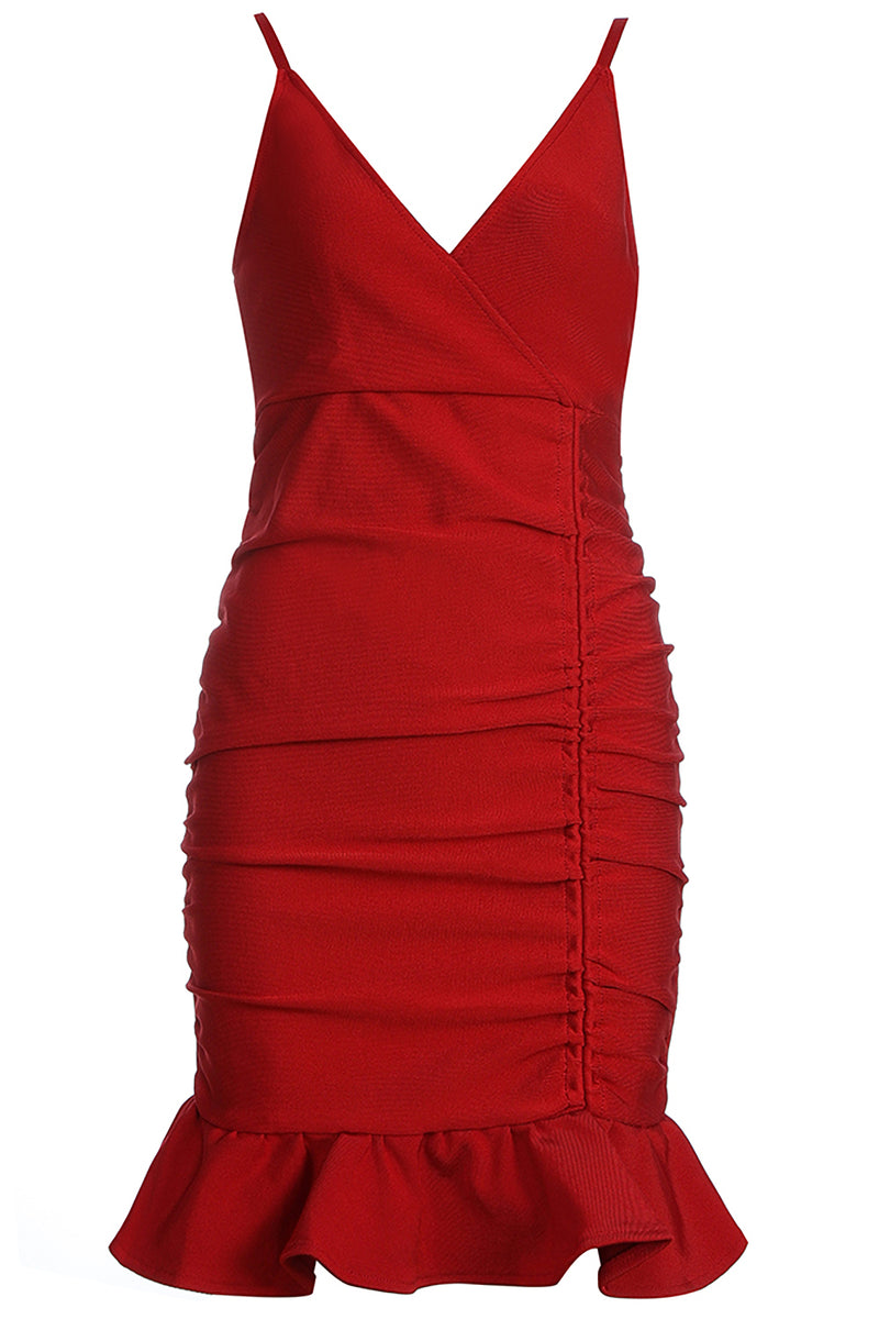 Red Strappy V-Neck Ruffled Bodycon Mini Dress - iulover