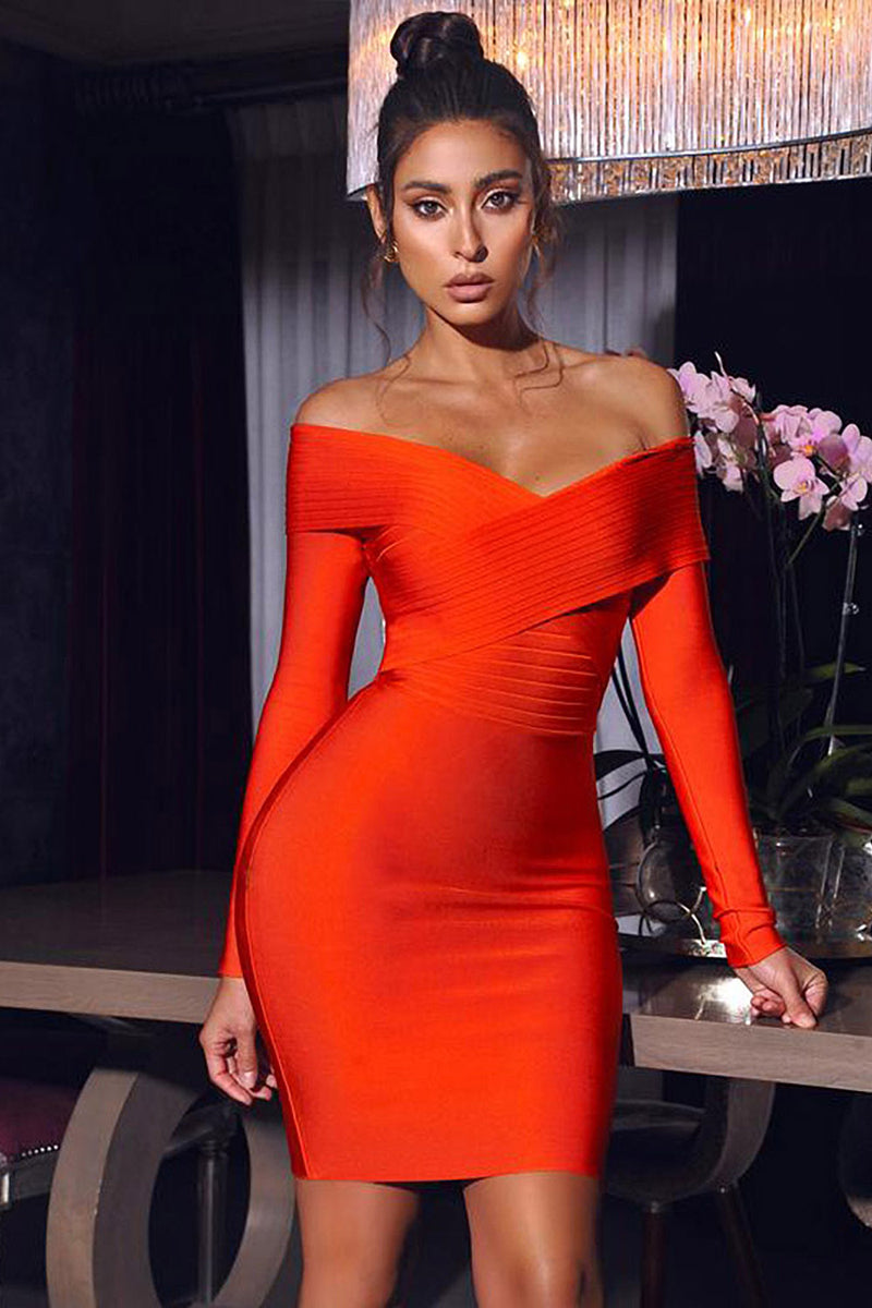 Red V-neck Off Shoulder Long Sleeve Bandage Dress