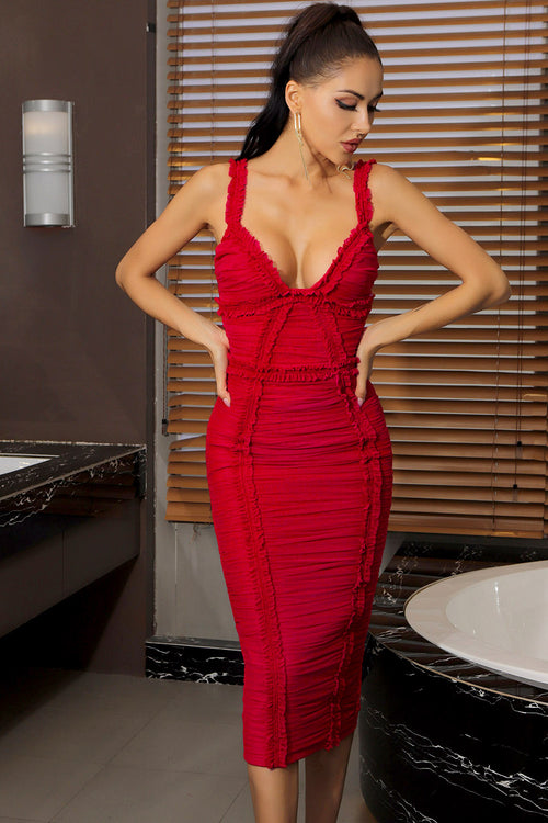 Red V Neck Mesh Ruched Midi Bandage Dress