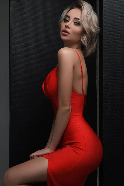 Red V Neck Strappy High Split Midi Bandage Dress