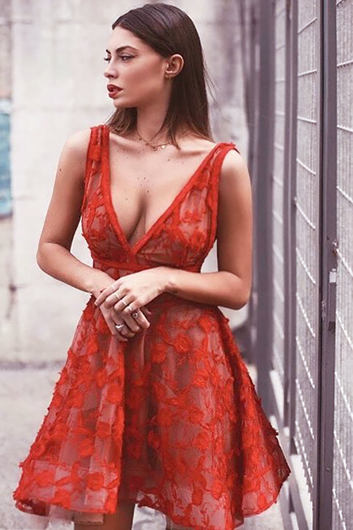 Red Deep V Lace Floral Mesh Bandage Gown Dress - iulover
