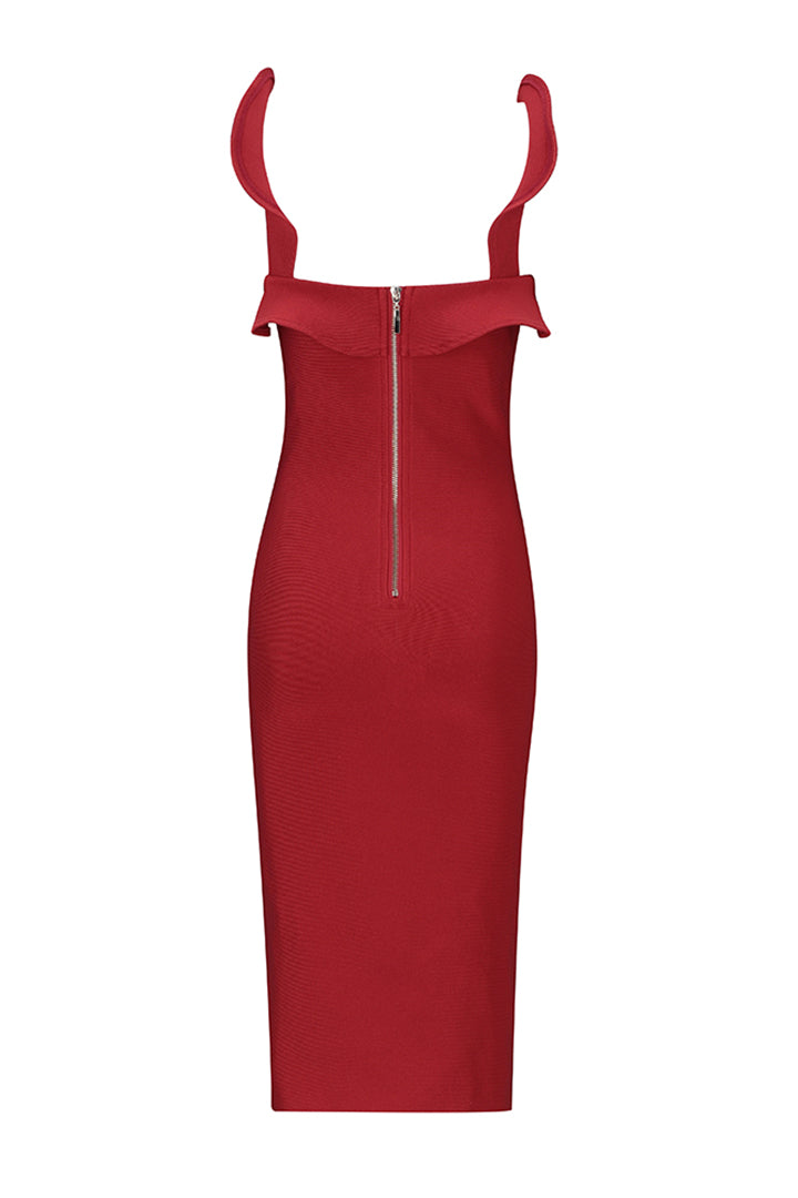 Red Strappy Ruffles Slash Neck Bandage Dress - iulover