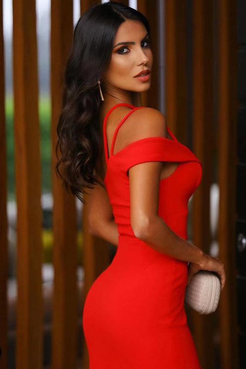 Red Bandage Strappy One Shoulder Mini Dress - iulover