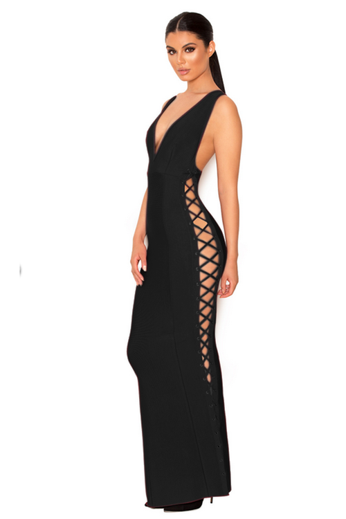 Deep V Neck Mermaid Cross Tie Backless Sexy Party Maxi Bandage Dres - iulover