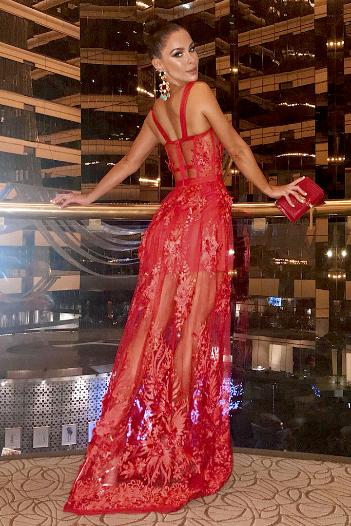 5d88f29311 Red Hollow Out Lace Spaghetti Strap Maxi Bandage Dress - iulover