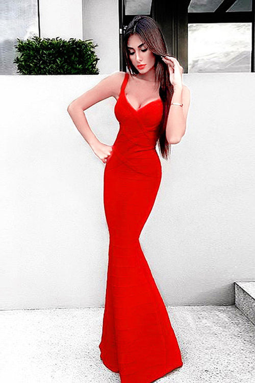 Red V Neck Elegant Floor-Length Trumpet Maxi Dress - iulover