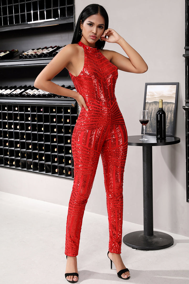 Red Sequined Halter Sleeveless Jumpsuits - iulover