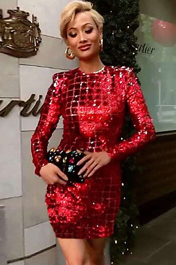 Red O Neck Sequins Bodycon Dress - iulover