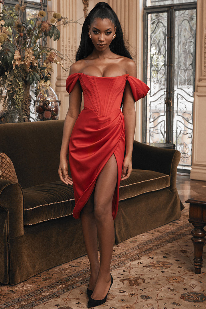 Red Off Shoulder Slash Neck Split Mini Dress - iulover