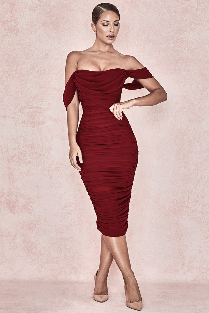 Red Off Shoulder Strapless Drape Party Dress Iulover