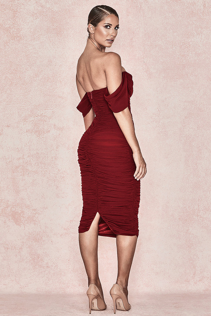 Red Off Shoulder Strapless Drape Party Dress - iulover