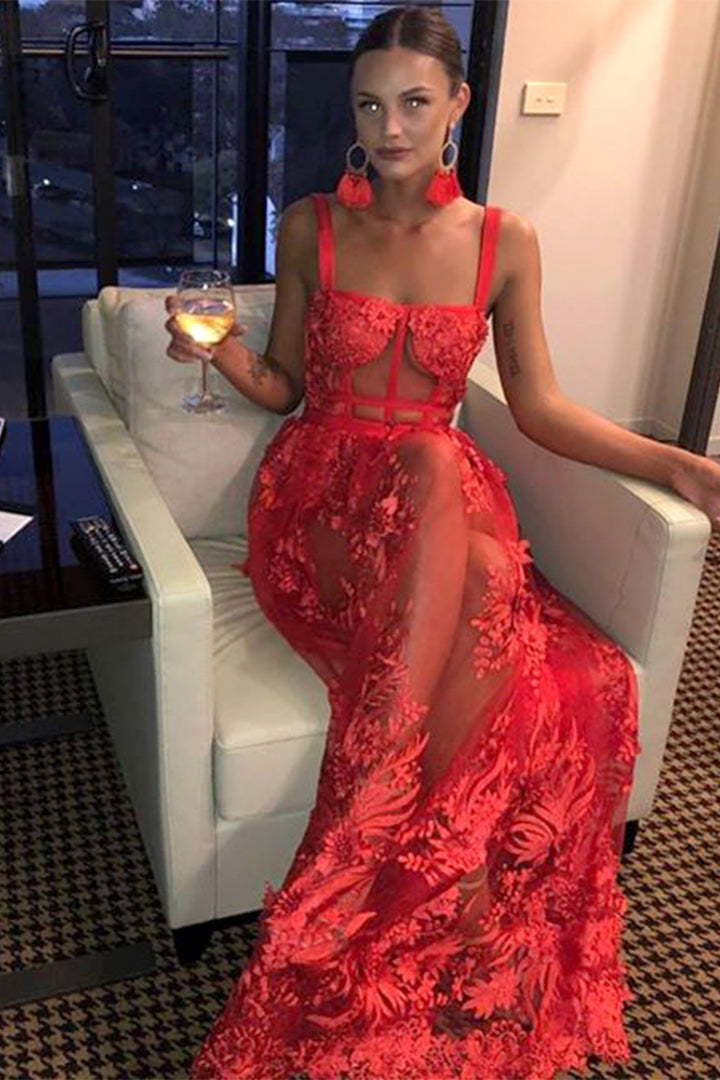 Red Hollow Out Lace Spaghetti Strap Maxi Bandage Dress - iulover