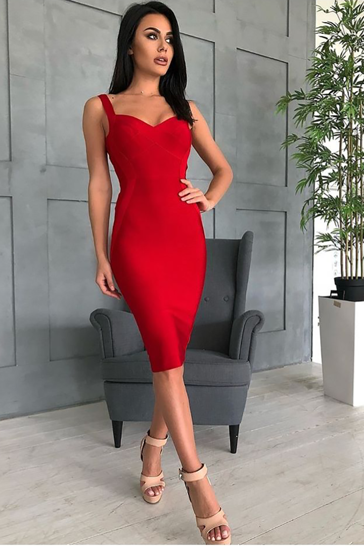 Red Strappy Bandage Midi Dress - iulover