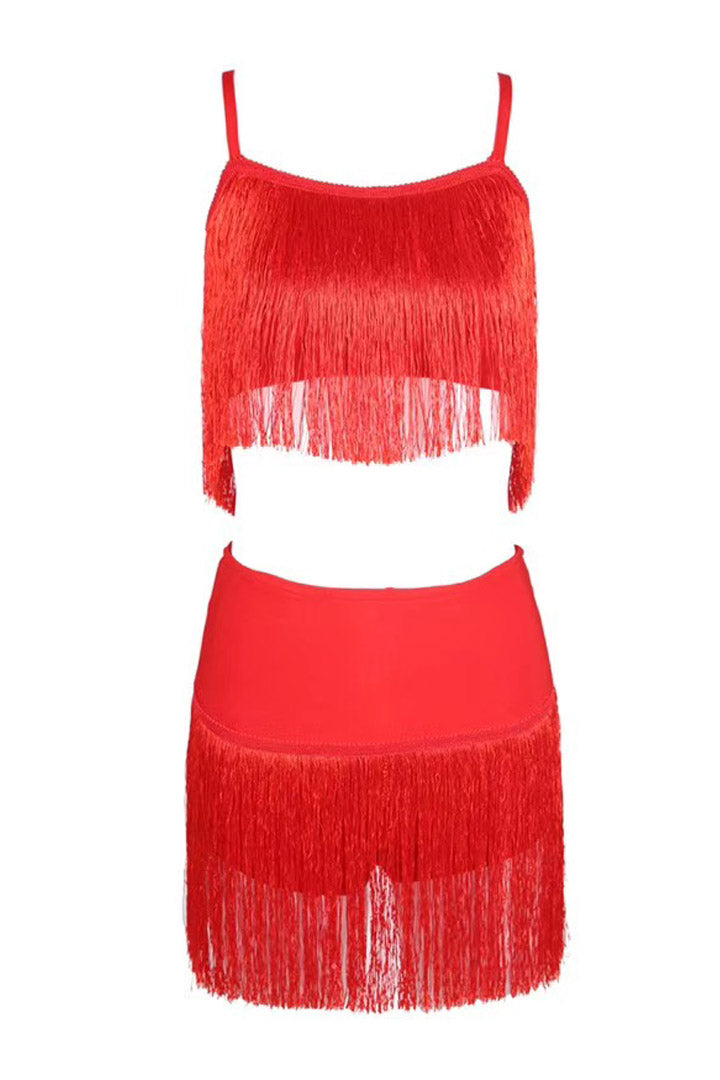 Red Two-Piece Tassel Mini Dress - iulover