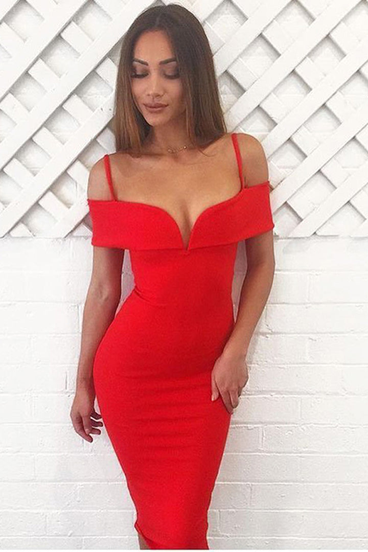 Red V Slash Neck Bandage Dress - iulover