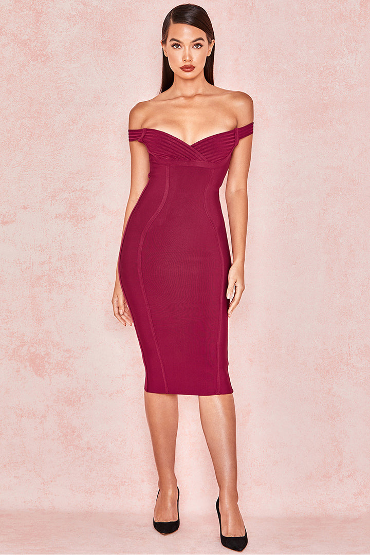 Red Wine Off Shoulder Bandage Dress - iulover