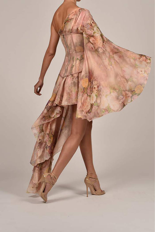 Rose Silk Printed One Shoulder Dress