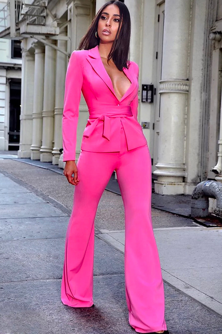 Rose Red Two Piece Fashion Suit - iulover