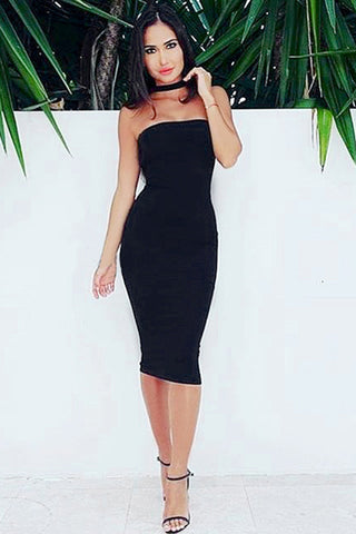 Round Neck Cut Out Midi Bandage Dress
