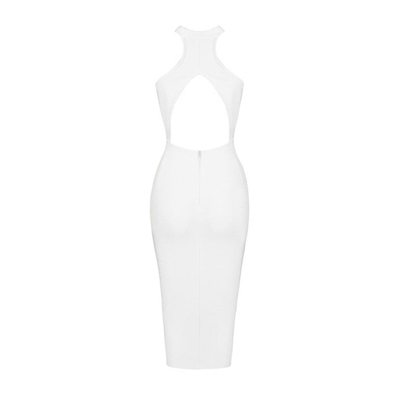 Round Neck Cut Out Midi Bandage Dress - iulover