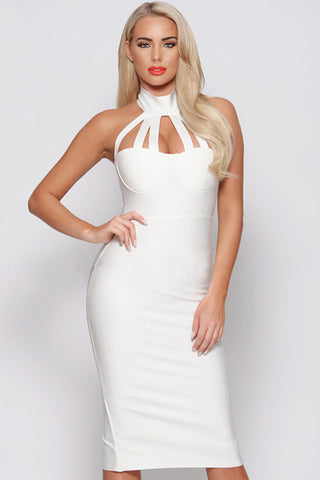 Round Neck Halter Backless Midi Bandage Dress