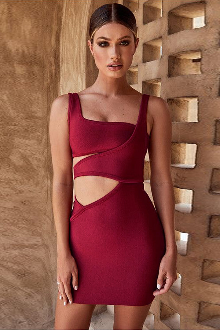 Rust Red Bandage Cut Out Mini Dress - iulover