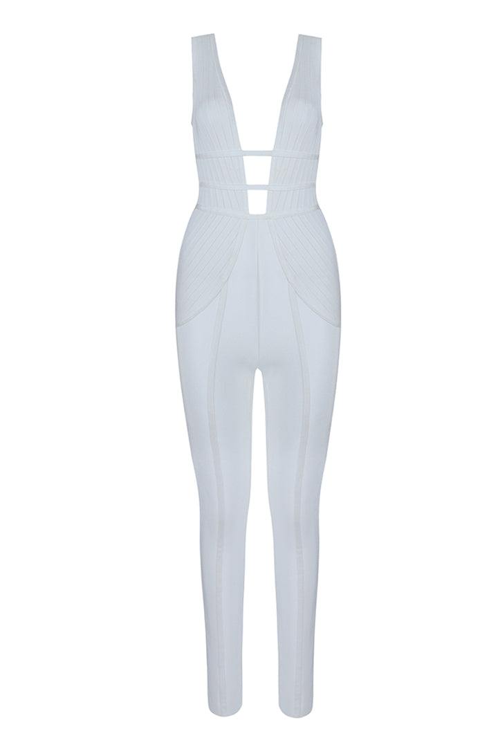 White Hollow Out Sleeveless Jumpsuit