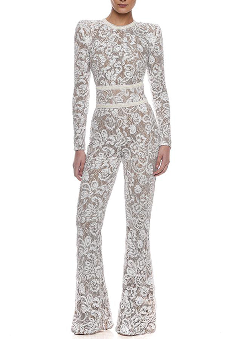 White Full Length Lace Bandage Belt Jumpsuits
