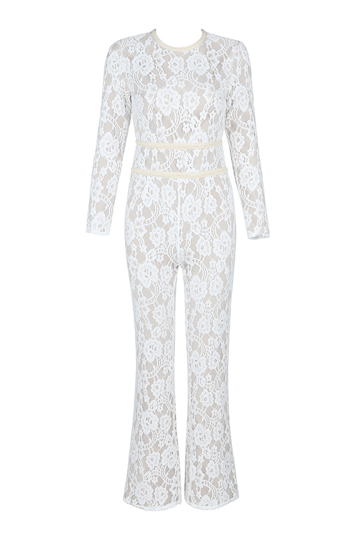 White Full Length Lace Bandage Belt Jumpsuits - iulover