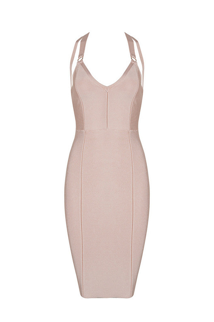 Off Shoulder Strapless Cross Wave Bandage Bodycon Dress