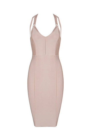 Straps Cross V Neck Backless Bodycon Bandage Dress