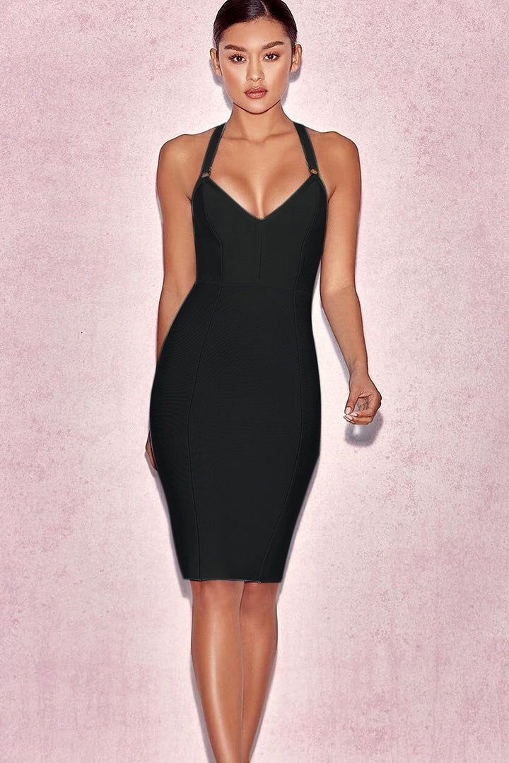 Straps Cross V Neck Backless Bodycon Bandage Dress - iulover