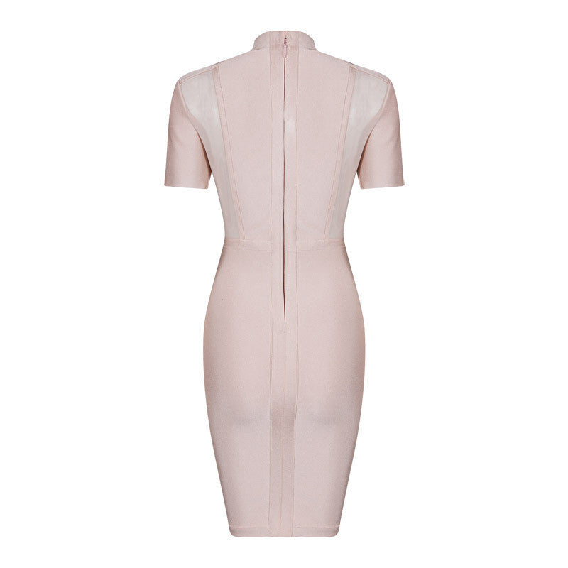 Short Sleeve Mesh Insert Buttons Bandage Dress - iulover