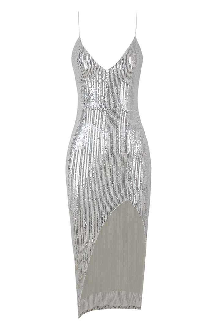 Silver Strappy Glitter Slit Midi Dress