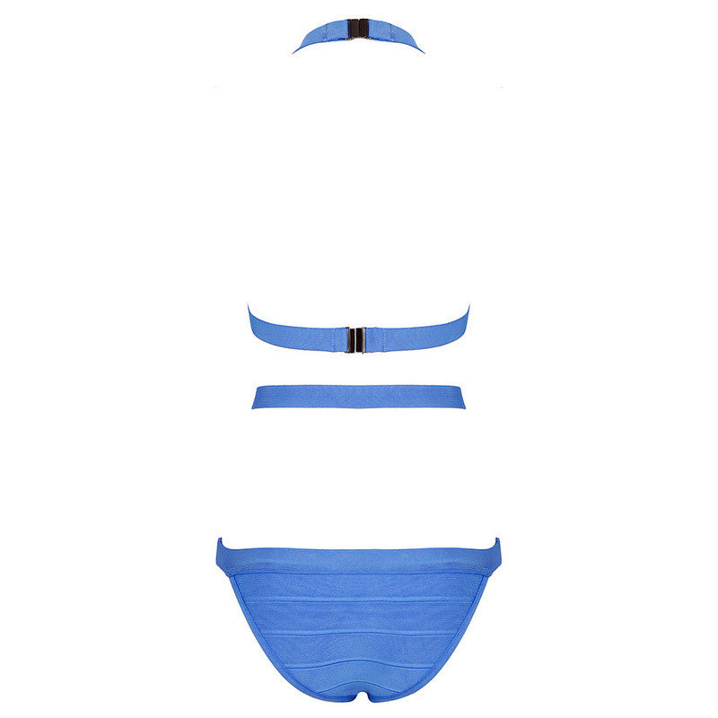 Sky Blue Metal Halter One-Piece Bandage Swimsuits - iulover