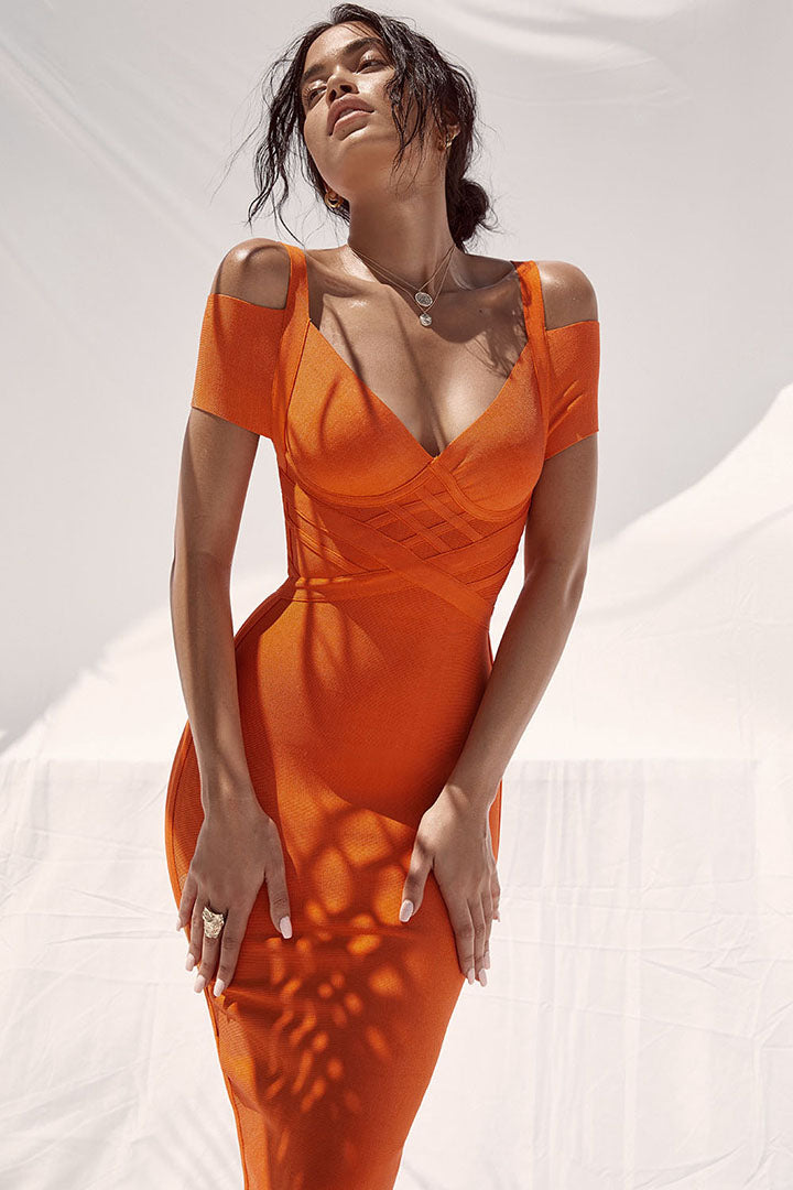 Orange Spaghetti Strap Bandage Short Dress - iulover