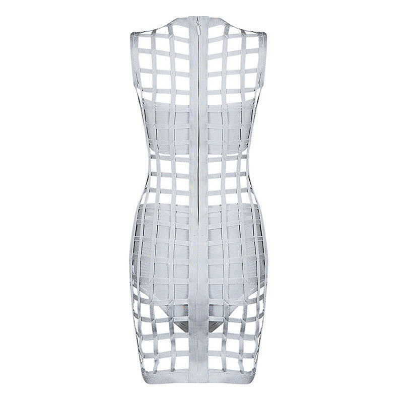 Sleeveless Hollow Out Bandage Dress With Shorts and Bustier - iulover