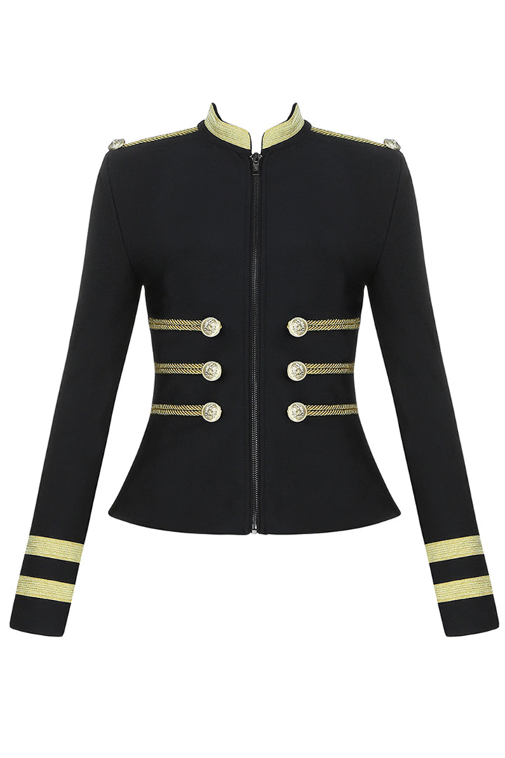 Black Buckle Button Embellished Bandage Jacket - iulover