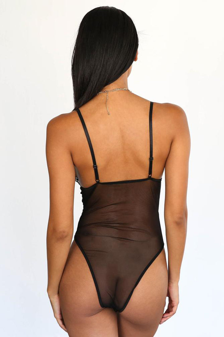 Black Lace up Backless Hollow Out Bodysuits - iulover
