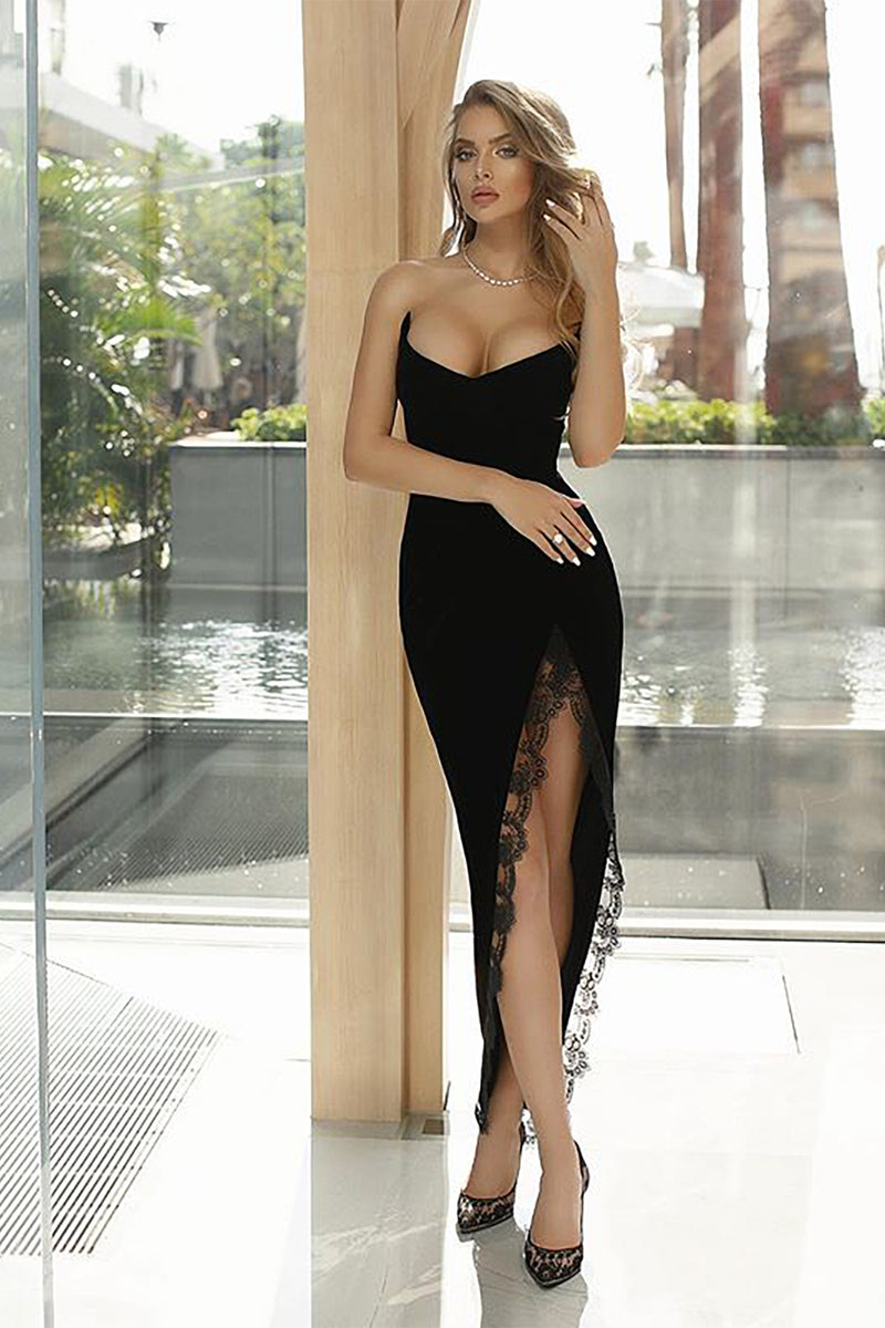 Strapless Black Lace Bandage Patchwork Split Long Dress - iulover